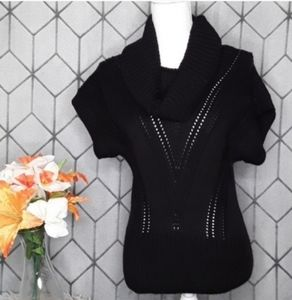 CANDIE'S Black Short Sleeve Cowl Neck Sweater